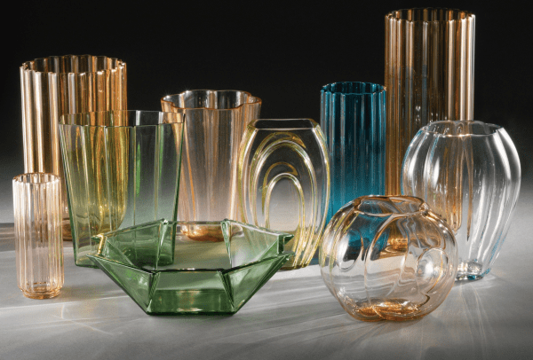 Collection of ten vases designed by George Sakier