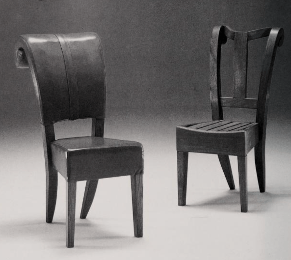 Wooden chairs designed by Nigel Coates
