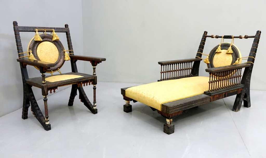 Carlo Bugatti and Eugenio Quarto armchair and day bed