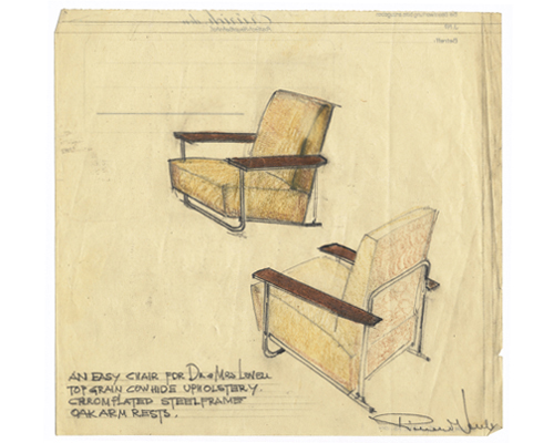 Not realized in 1929: Sketch by Richard Neutra for the Lovell Health House.