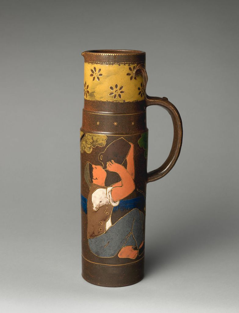 Tankard with man drinking from jug ca. 1885 Haviland & Co. under direction of Ernest Chaplet