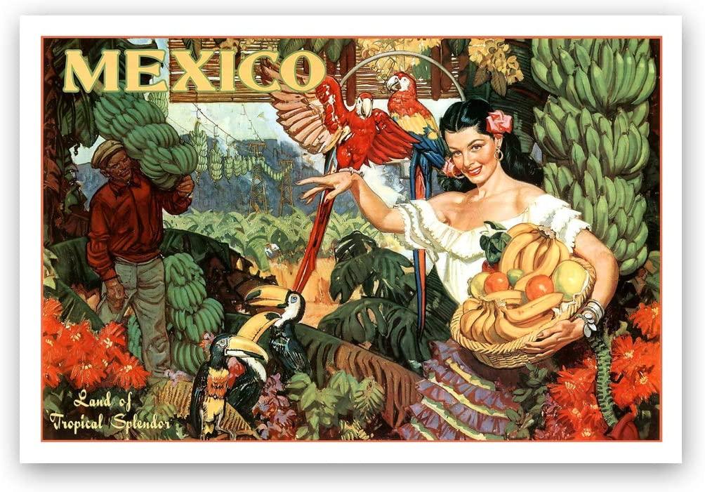 Vintage travel poster Mexico postcard set