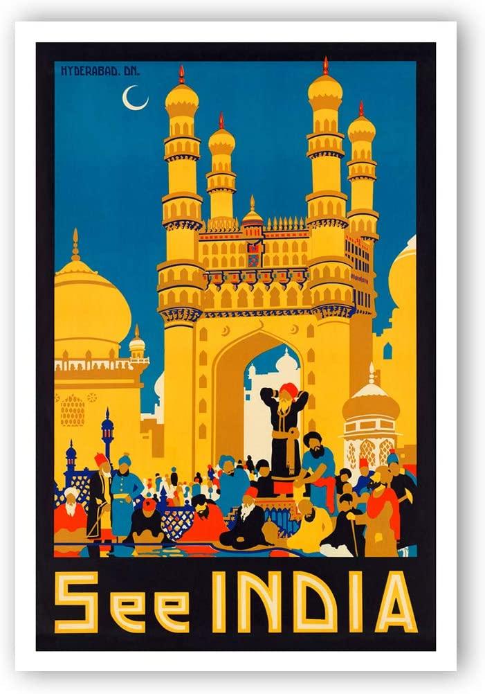 Vintage travel poster See India postcard set