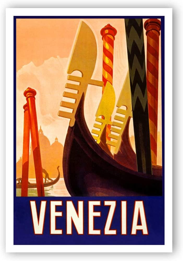 Vintage travel poster Venizia postcard set