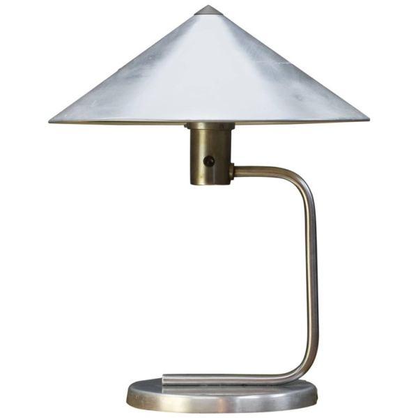 Machine Age Table Lamp in polished aluminium designed by Kurt Versen (1930s)
