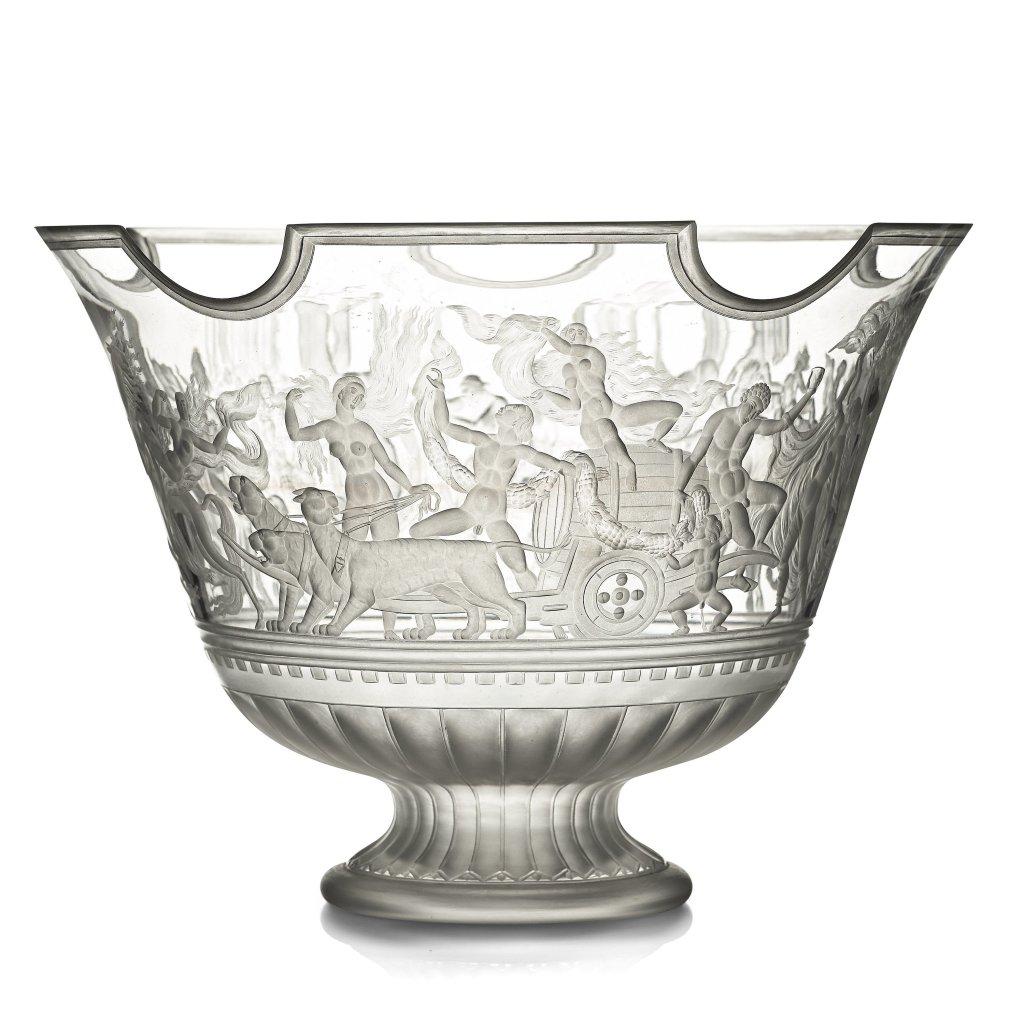 """Swedish Grace engraved """"Bacchus"""" bowl, Orrefors, Sweden 1926, engraved by Arthur Diessner designed Simon Gate"""