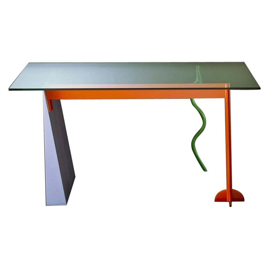 Peninsula Metal and Glass Side Table, by Peter Shire from Memphis Milano