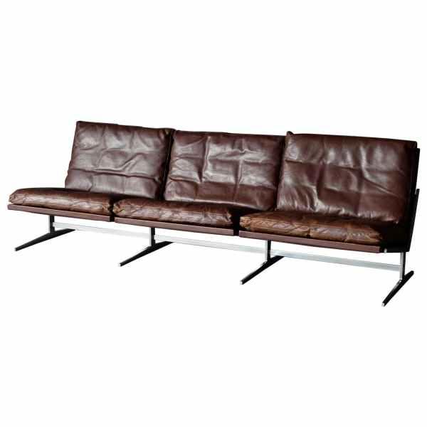 Three-seat sofa designed by Preben Fabricus and Jorgen Kastholm.