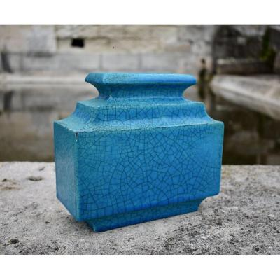 Turquoise crackle ceramic vase by Edmond Lachenal