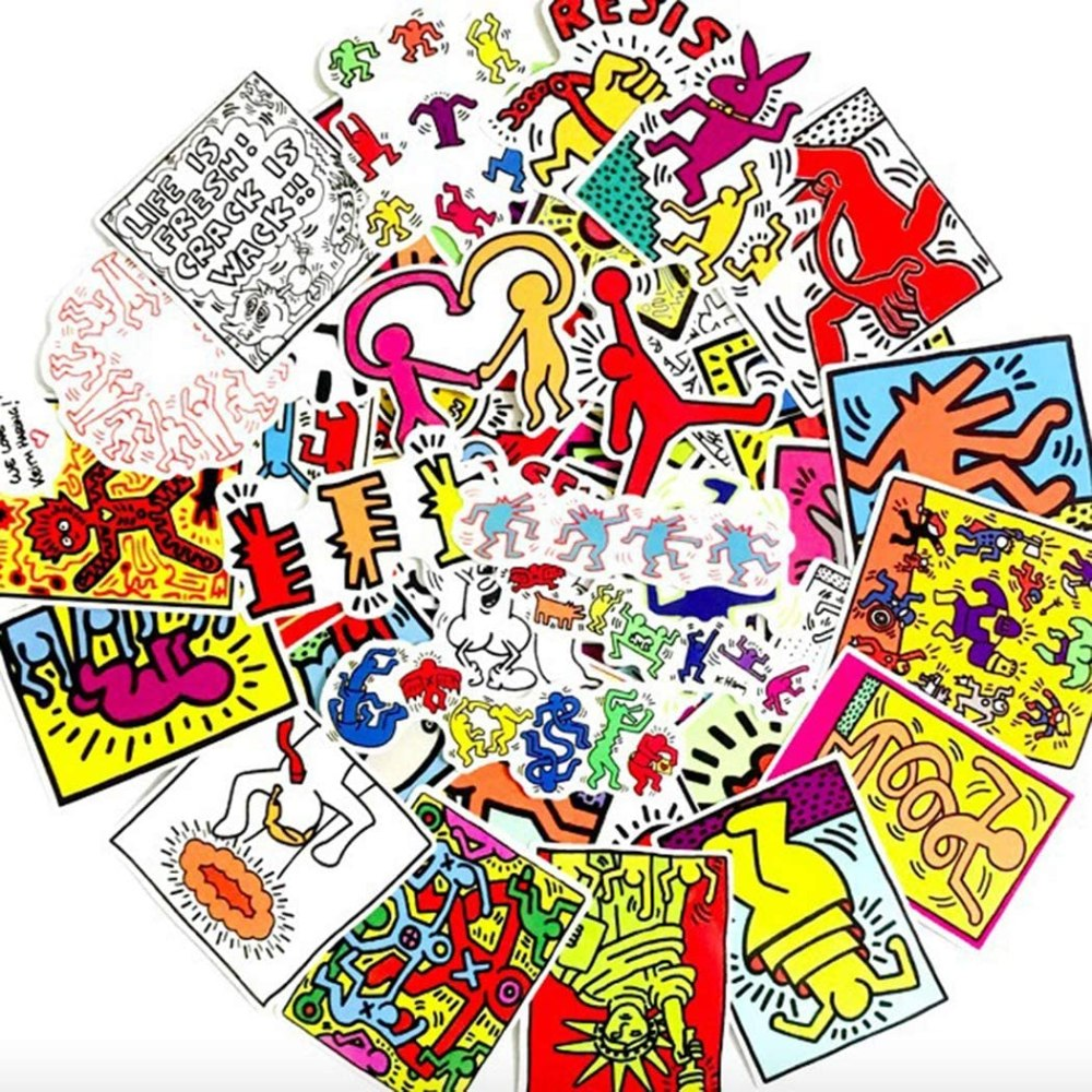 Keith Haring inspired performance art stickers