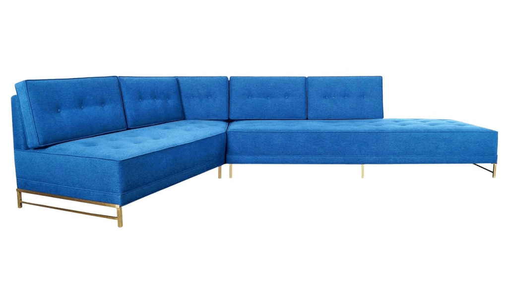 Vintage brass sectional sofa by Paul McCobb