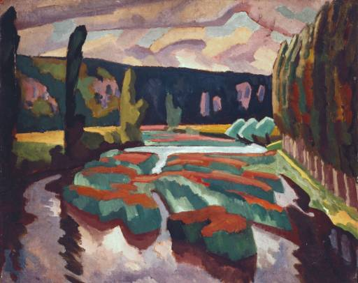 River with Poplars, ca. 1912 by Roger Fry