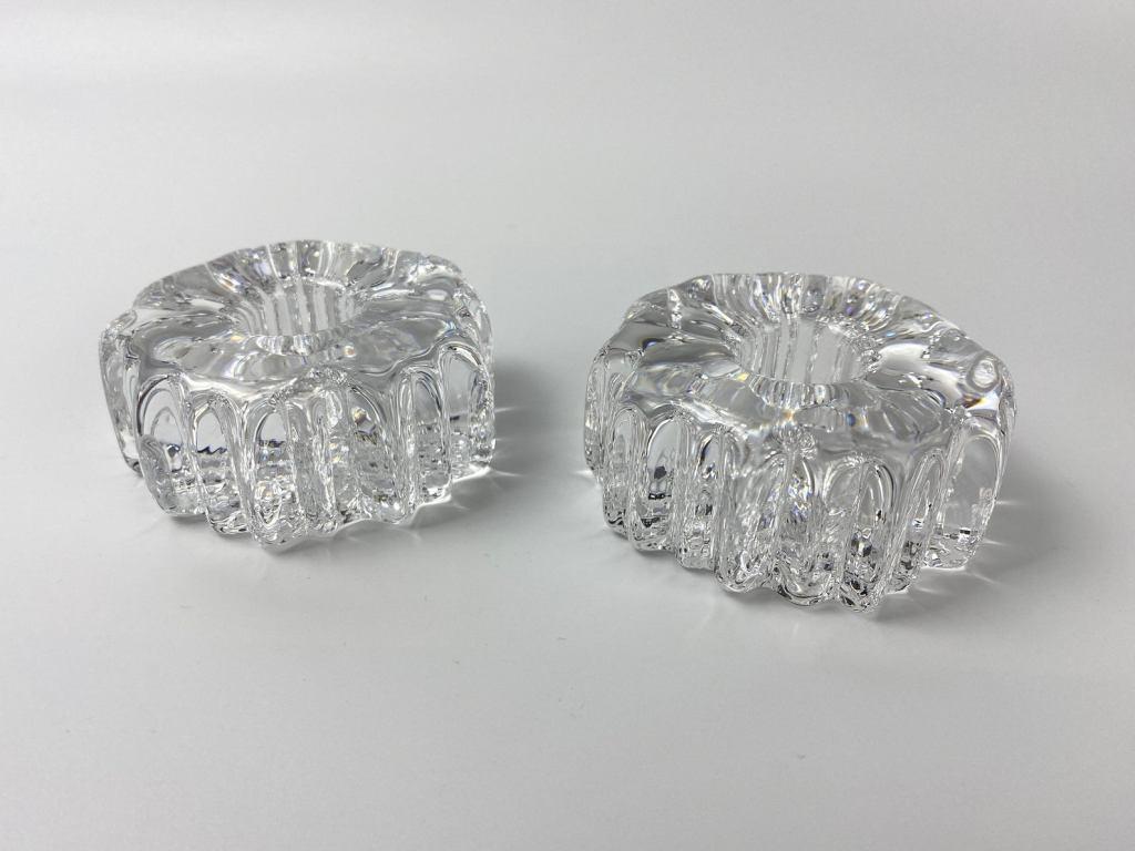 Rare Swedish Crystal Votive Candle Holders (Set of 2) - Pukeberg Glasbruk - ca. 1966