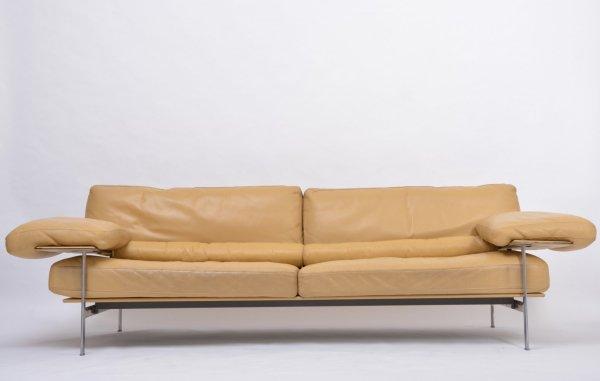 Rare Diesis sofa in ochre leather, 1979 designed by Antonio Citterio and Paolo Nava