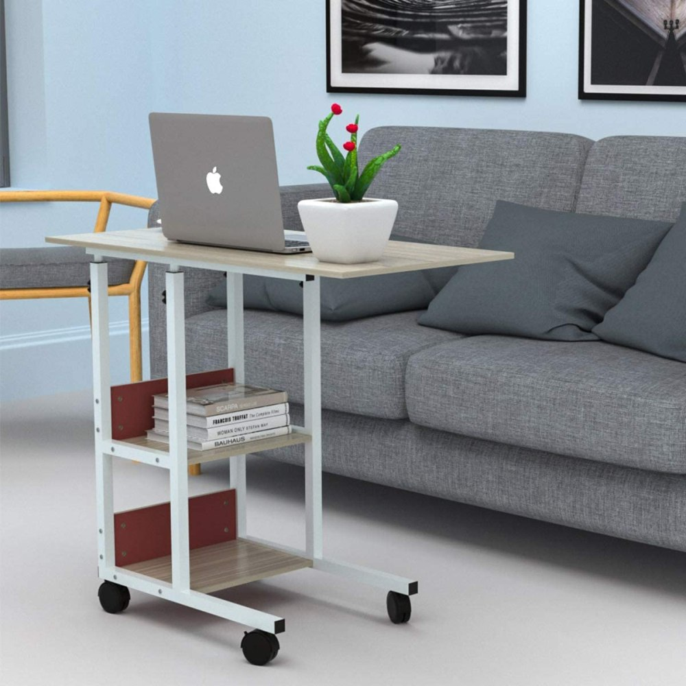 Laptop Table with Wheels for Study Room Bedroom Living Room