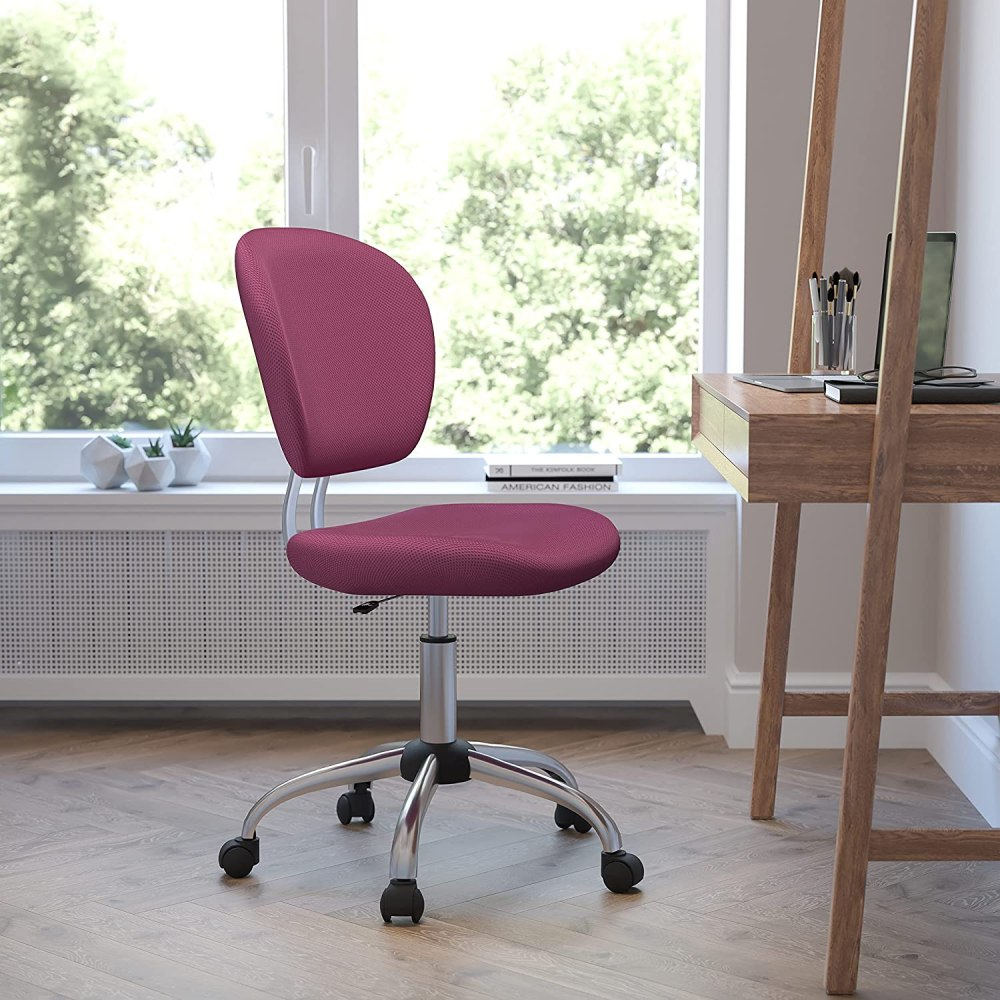 Flash Furniture Mid-Back Pink Mesh Padded Swivel Task Office Chair with Chrome Base