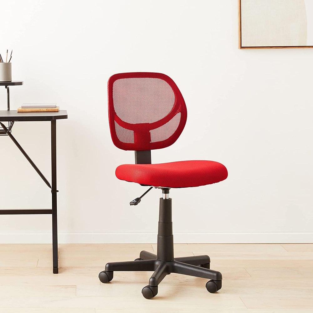Amazon Basics Low-Back, Upholstered Mesh, Adjustable, Swivel Computer Office Desk Chair