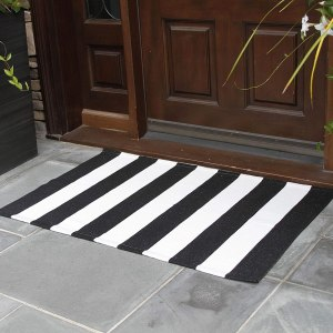 NANTA Black and White Striped Rug 27.5 x 43 Inches Cotton Woven Washable Outdoor Rugs