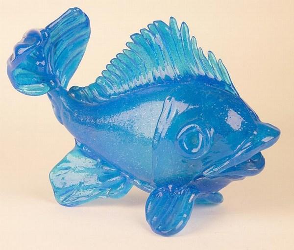 Blue Fish in Glass by Jean Sala