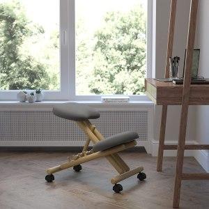 Mobile Wooden Ergonomic Kneeling Office Chair in Gray Fabric