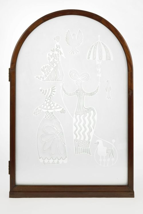 The acid mat engraved glass with hinged box frame in mahogany.