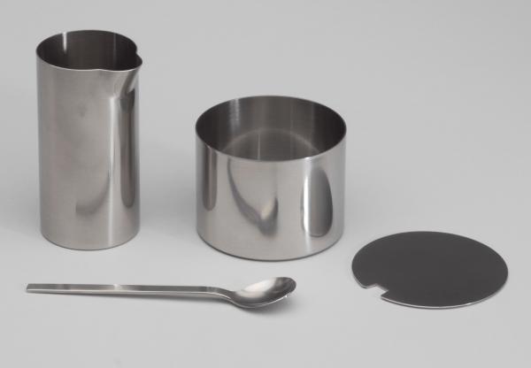 Cylinda Sugar Bowl and Creamer, 1964 - 1967 designed by Arne Jacobsen