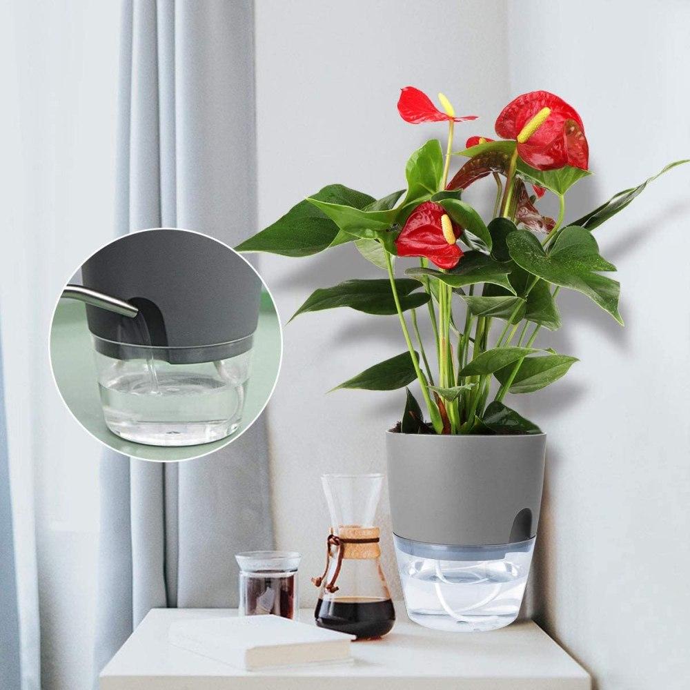 Vanavazon 6 Inch Self Watering Planter Pots for Indoor Plants