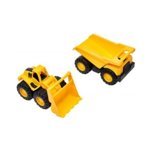 Yellow Dump Truck and Bulldozer