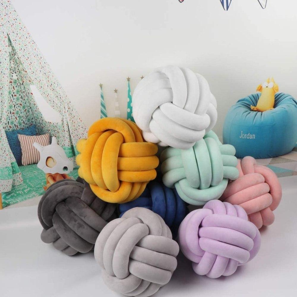 Xizi Knot Ball Cushion Pillows,Cushion Plush Throw Knotted Pillow Handmade