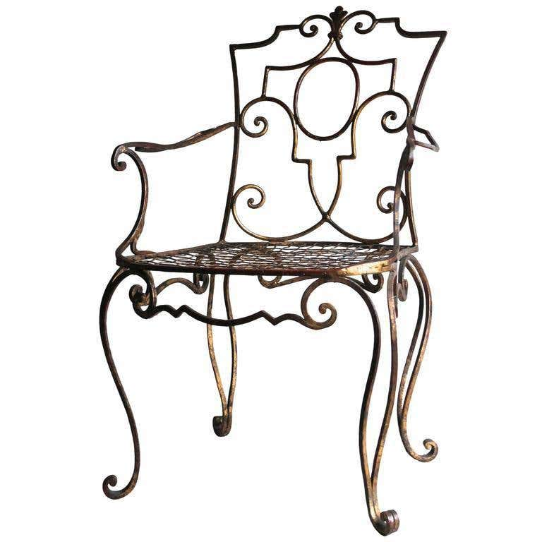 Jean-Charles Moreux Rare Gilded Wrought Iron Armchair