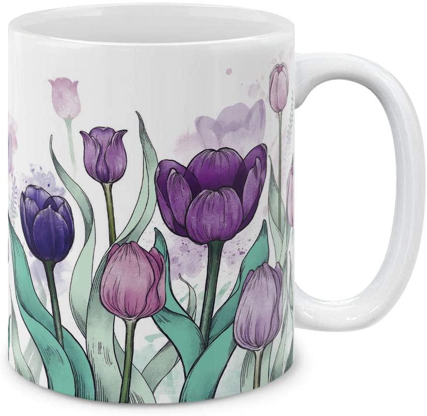 MUGBREW 11 OZ Coffee Mug Flowers Plants Garden Variety Designs, Tulips Flowers