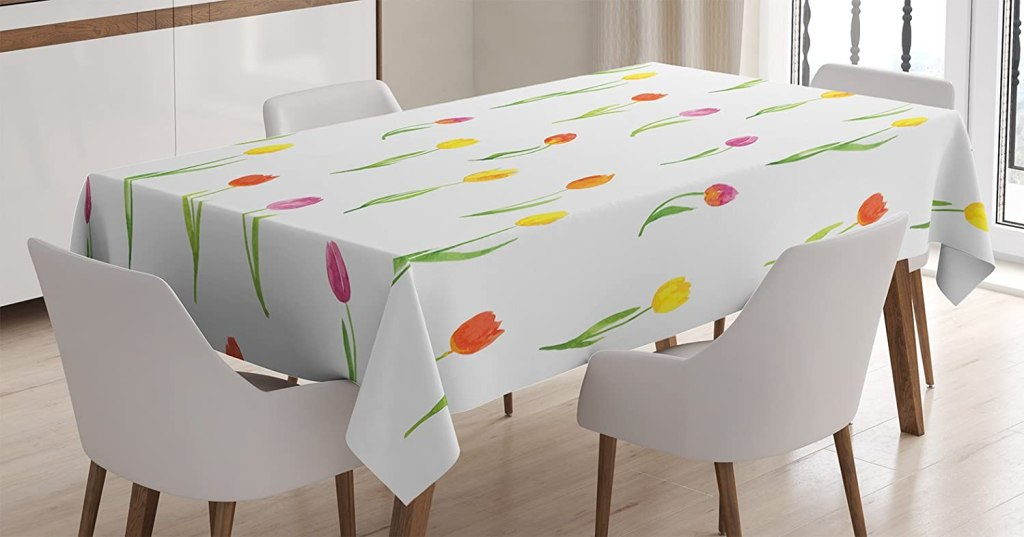 Ambesonne Watercolor Flower Tablecloth, Colorful Tulips Pattern