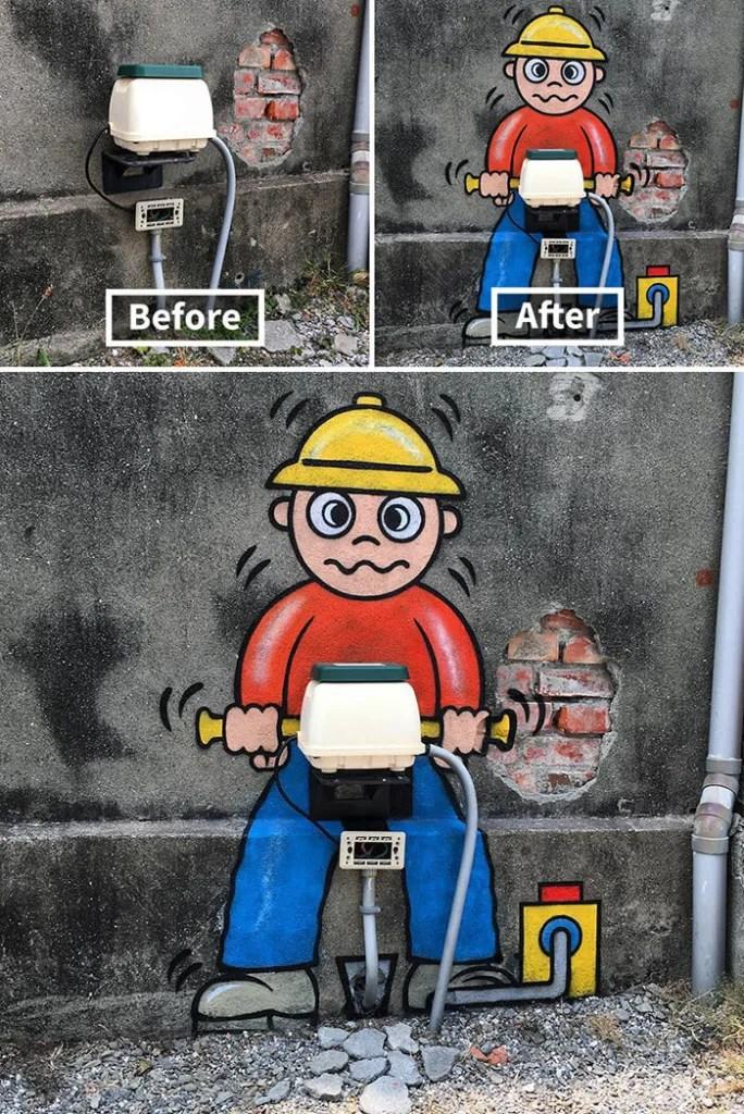 Tom Bob Witty Street Art- Construction Worker