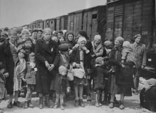 Jewish women and children deported from Hungary, separated from the men, line up for selection. [LCID: 77255]