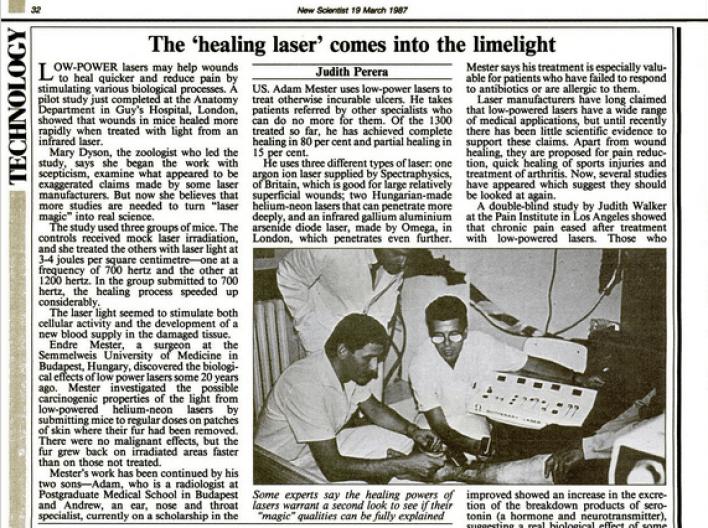 1987 год в New Scientist показал, как Адам Местер лечит «неизлечимые» язвы лазерами - терапия красным светом