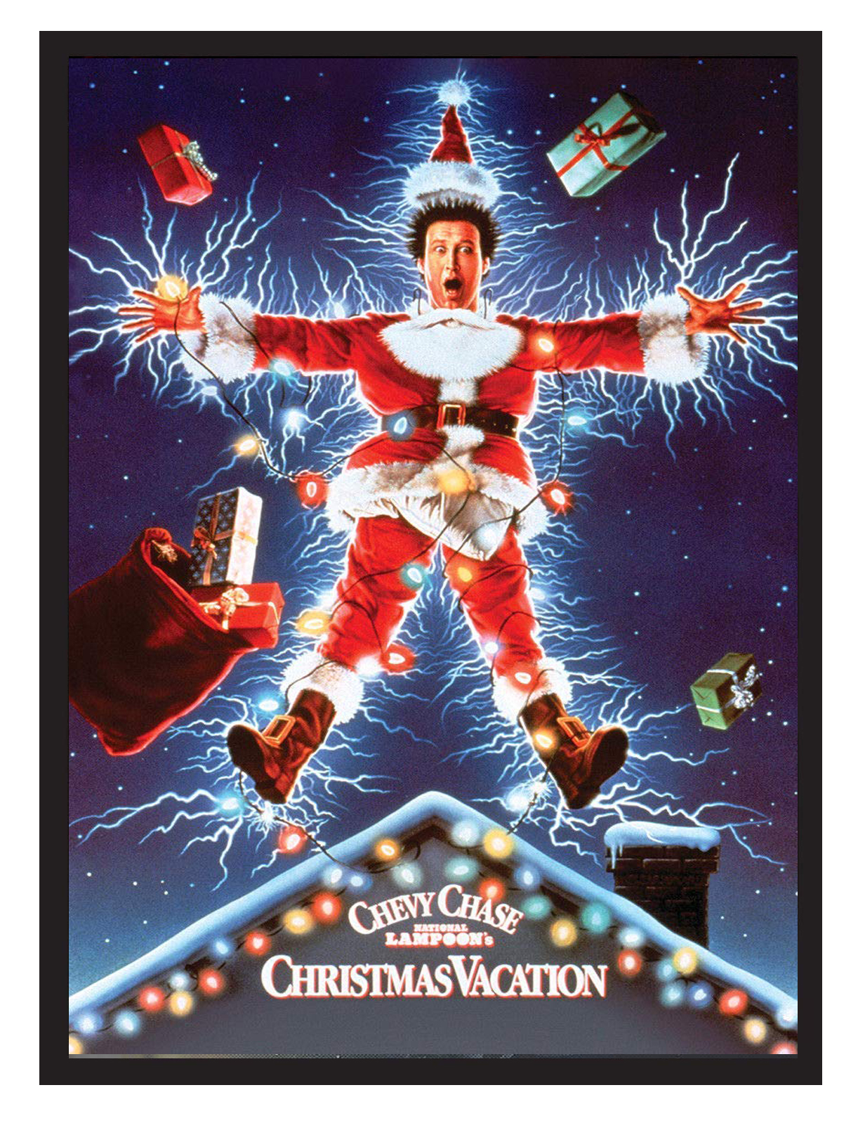 christmas vacation chevy chase movie poster 22x34 framed on a black frame made in usa