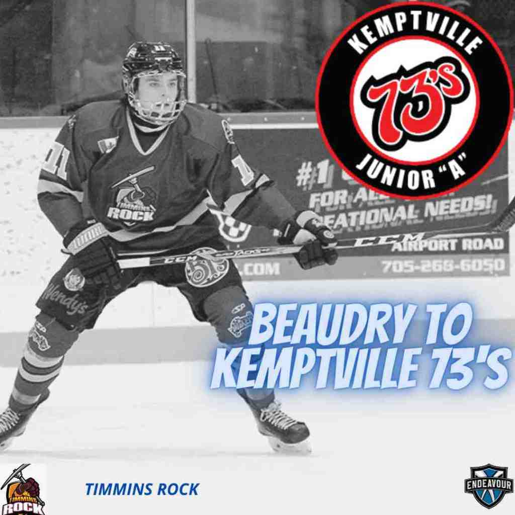 Evan Beaudry of the Timmins Rock is set to join the Kemptville 73's for the 2021-22 season
