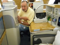 Stewart points out the mistake Emirates made, did they really think he could get into the seat in that space?