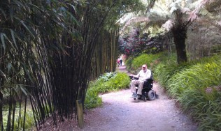 Wandering the hilly Trebah Gardens in the sturdy Invacare wheelchair.