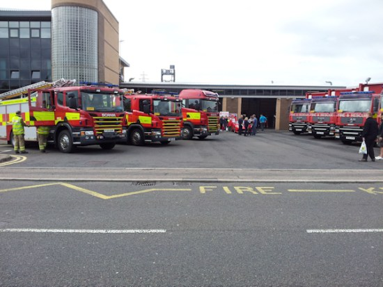 Fire engines on parade outside Southern Station