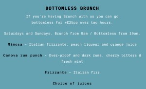 Canova Hall's bottomless brunch drink menu.