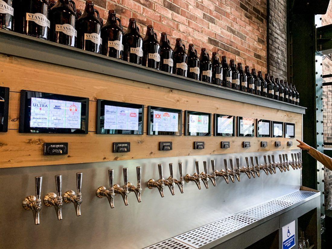 self-serve drinks on draft at Standard Market & Pint House