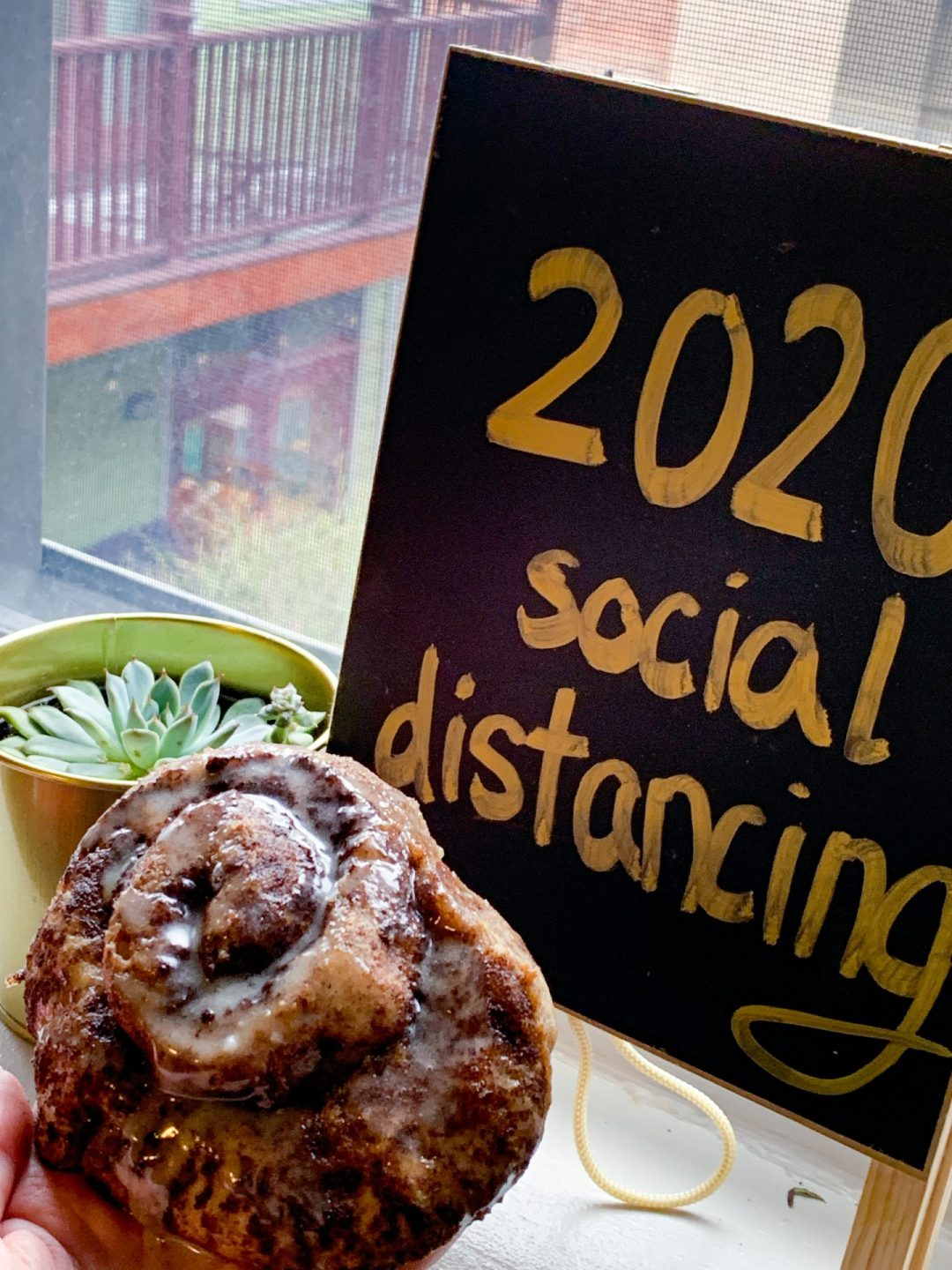 2020 social distancing with Cinnamon Biscuit Rolls