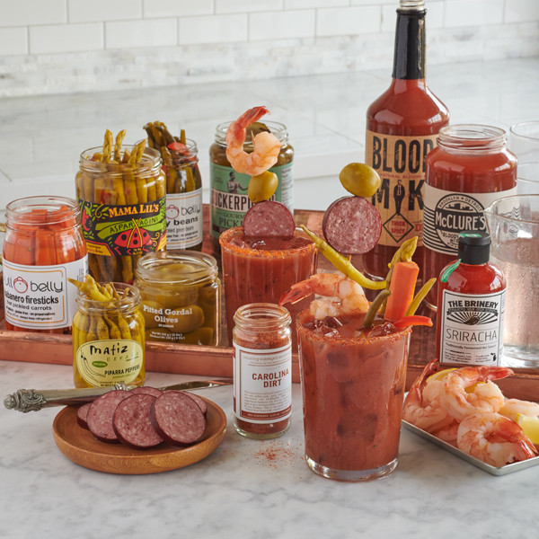 LobsterGram Bloody Mary Delivery Kit with shrimp, sausage, bloody mary mix, asparagus, olives, and pickles