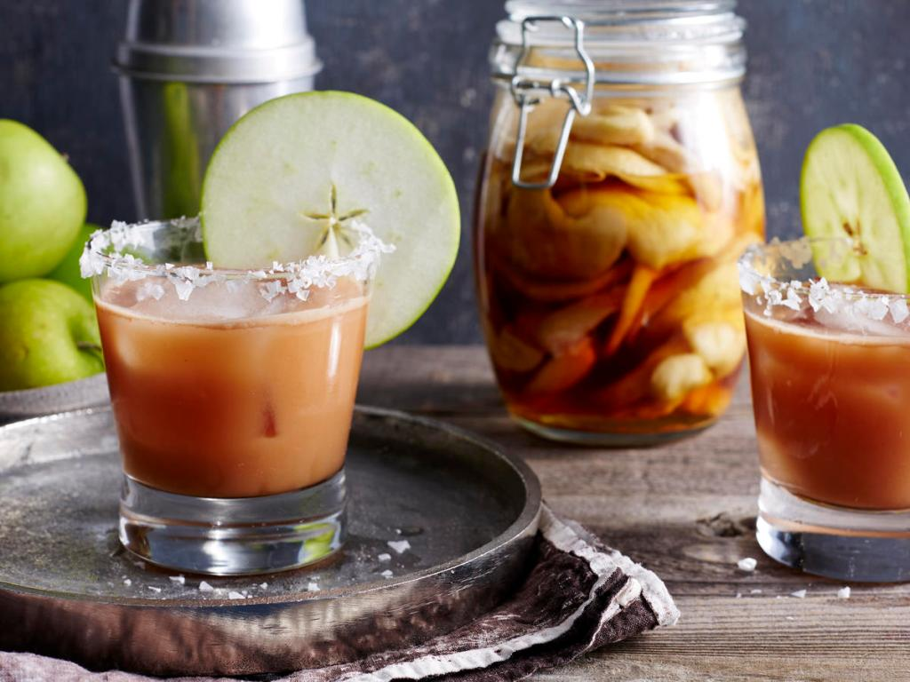 Salted Caramel Apple Old-Fashioned cocktail with apple infused bourbon