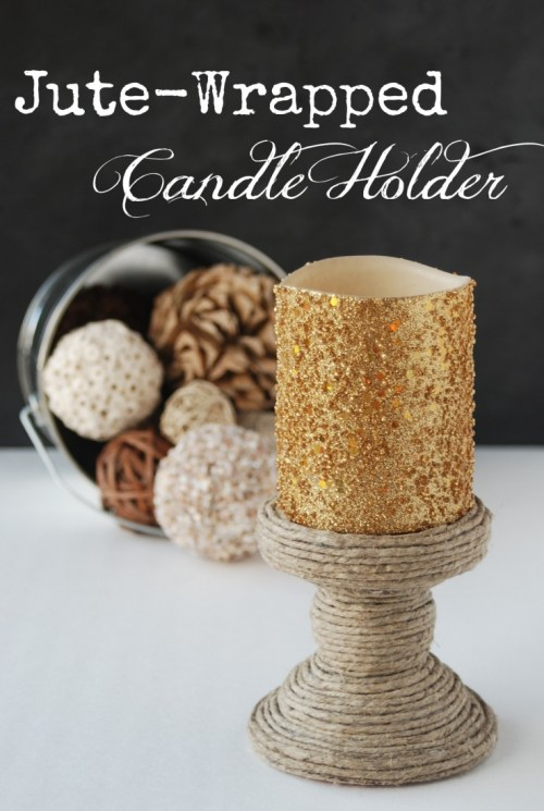 Make a jute-wrapped candle holder out of a thrift-store find. I love projects like this: easy, cheap and looks so great!!