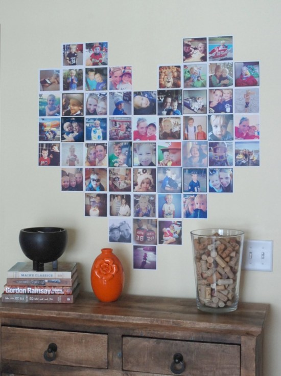 Make a heart-shaped display of Instagram photos. How cute is this?!?