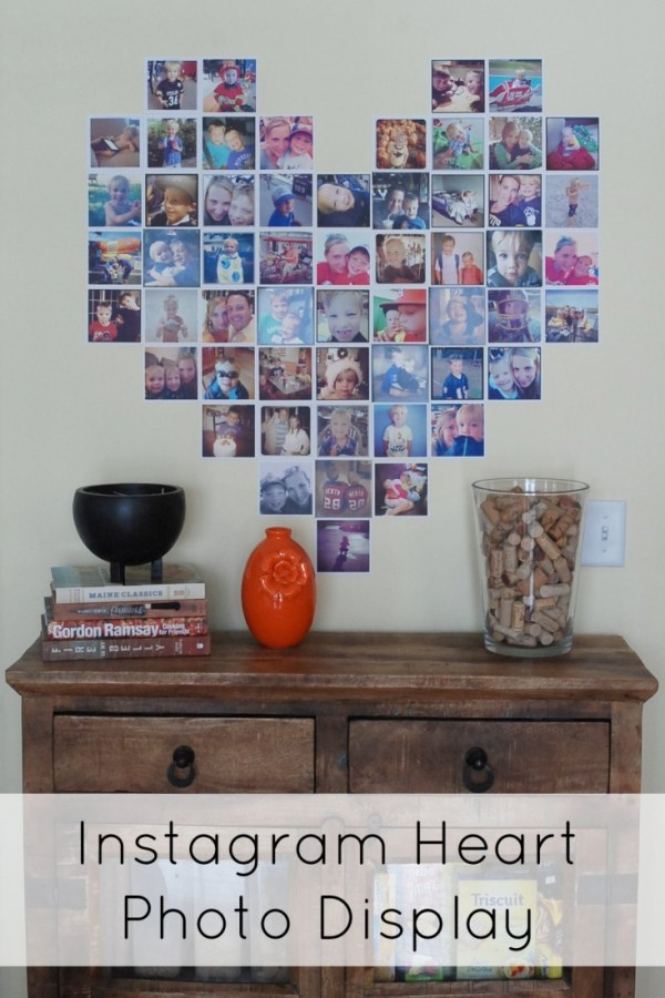 Make a heart-shaped display of Instagram photos. How cute is this?!? It even includes a pattern to use.