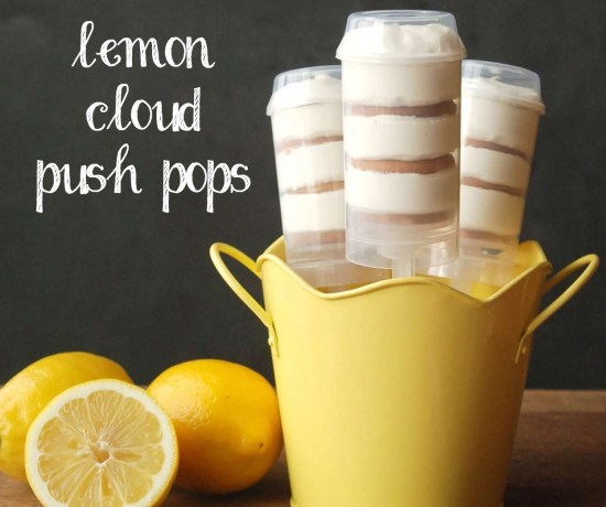 Light, fluffy lemon mousse layered with vanilla wafer cookies, served as a push pop. This sounds so delicious!