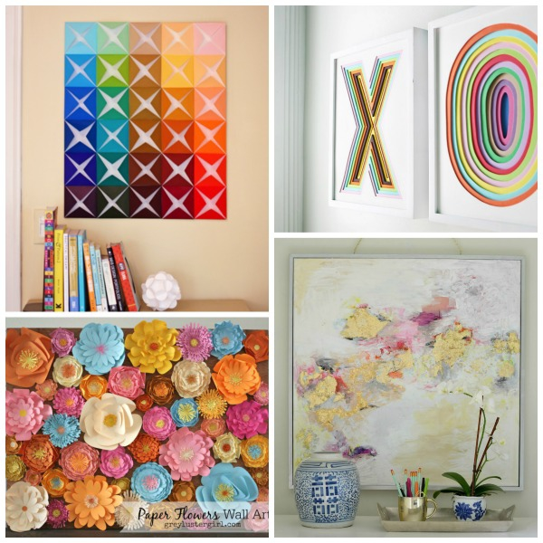 Trying to fill a big blank wall with art can be a scary {and expensive!!} task. No need to worry, here are 40 gorgeous, inexpensive and easy-to-make DIY wall art tutorials!